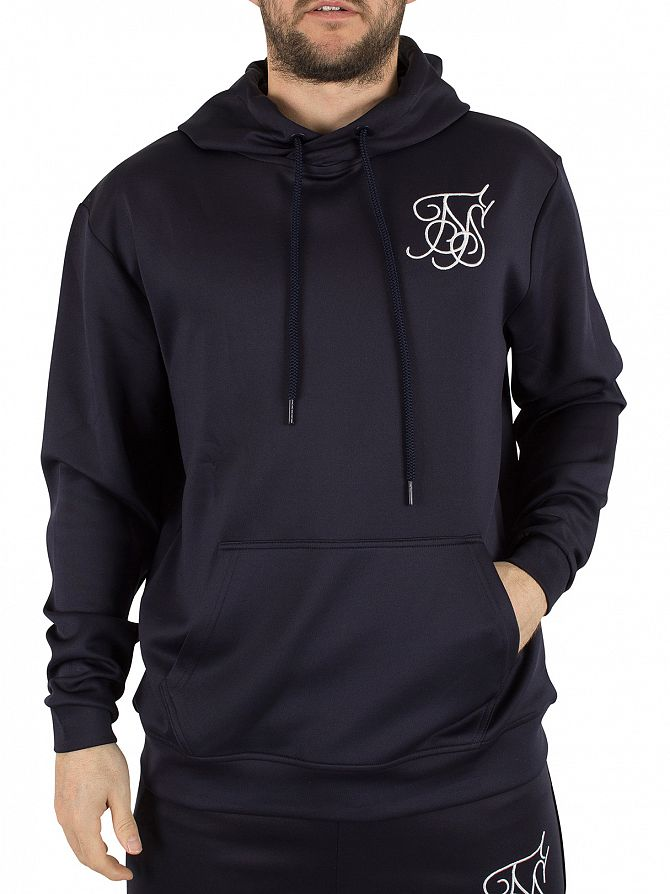 Sik Silk Navy Poly Tricot Over Head Hoodie