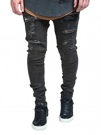 Sik Silk Washed Brown Ripped Hareem Skinny Jeans