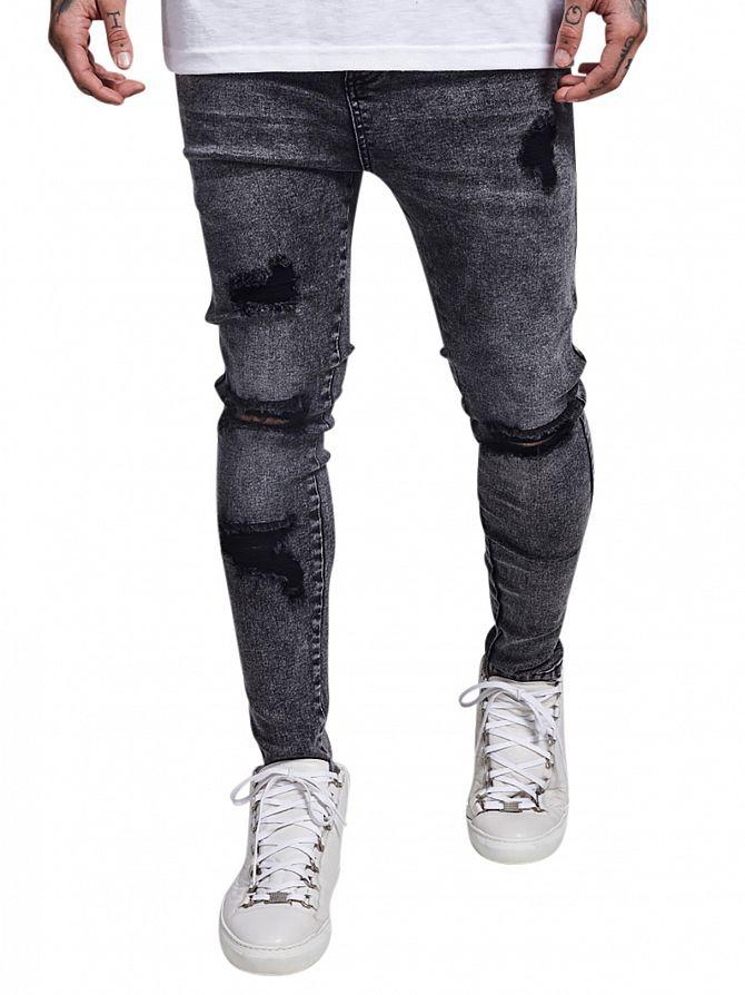 Sik Silk Black Acid Wash Skinny Distressed Low Rise Jeans