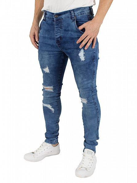 Sik Silk Midstone Skinny Distressed Low Rise Jeans