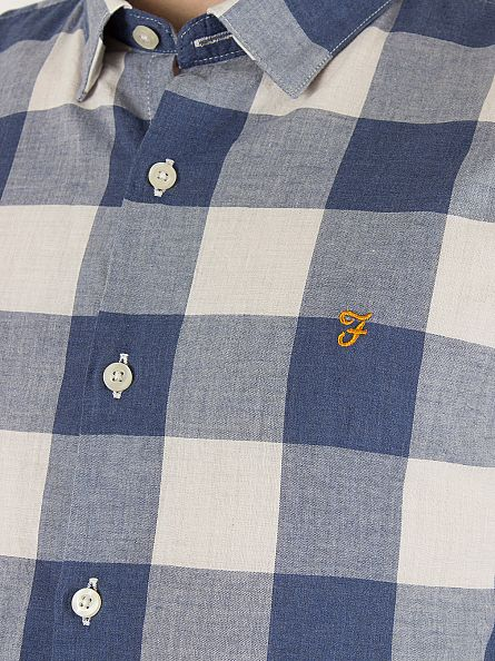 Farah Vintage Regatta Blue Cheadle Slim Fit Checked Logo Shirt