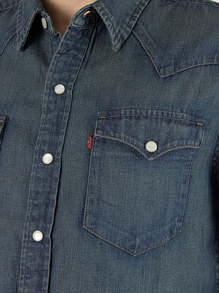 Levi's Dark Wash Shortsleeved Classic Western Sandy Tint Dark Shirt