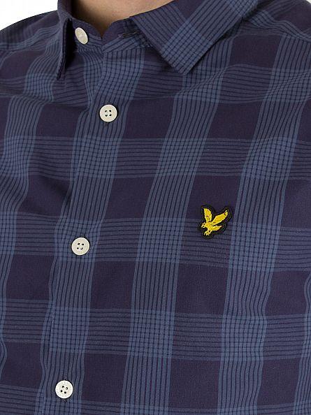 Lyle & Scott Navy Block Check Logo Shirt