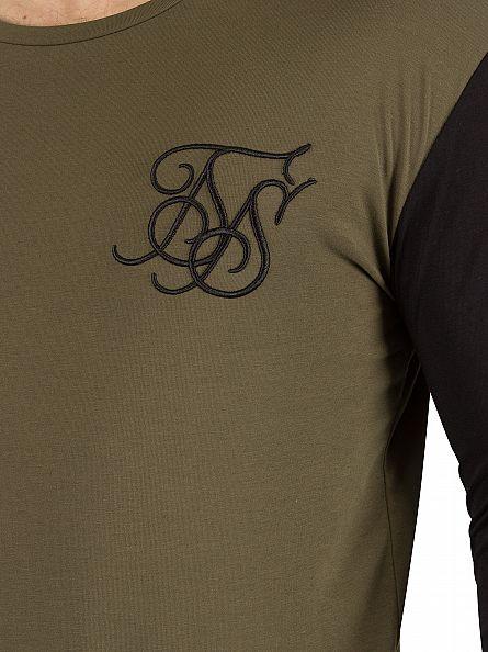 Sik Silk Khaki/Black Longsleeved Contrast Sleeve Logo T-Shirt
