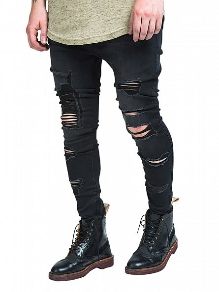 Sik Silk Black Raw Edge Crop Crotch Ripped Jeans