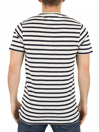 Farah Vintage True Navy Lennox Striped Logo T-Shirt