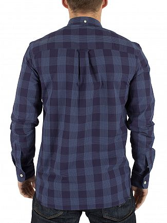 Lyle & Scott Navy Block Check Logo Shirt