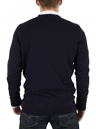 Lyle & Scott Navy Cotton Merino Logo Cardigan Knit