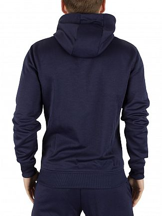 Lyle & Scott Navy Funnel Neck Tricot Zip Logo Hoodie