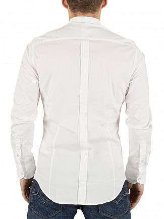 Replay White Slim Fit Curved Hem Logo Shirt