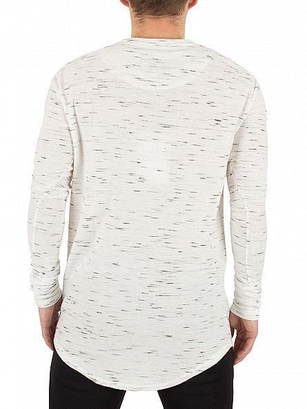 Sik Silk White Longsleeved Inject Waffle Logo T-Shirt