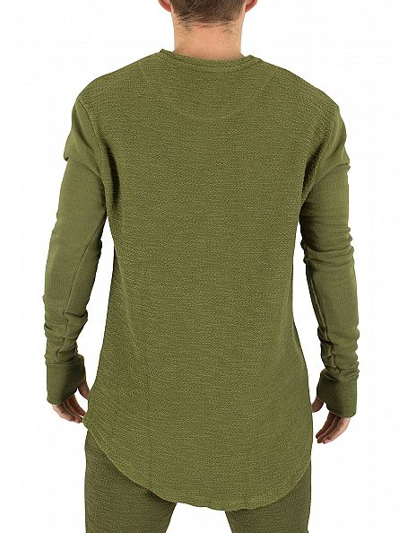 Sik Silk Khaki Reverse Flannel Undergarment Sweatshirt
