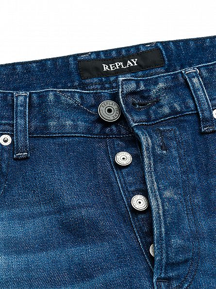 Replay Blue Denim Laser Grover Fit Jeans