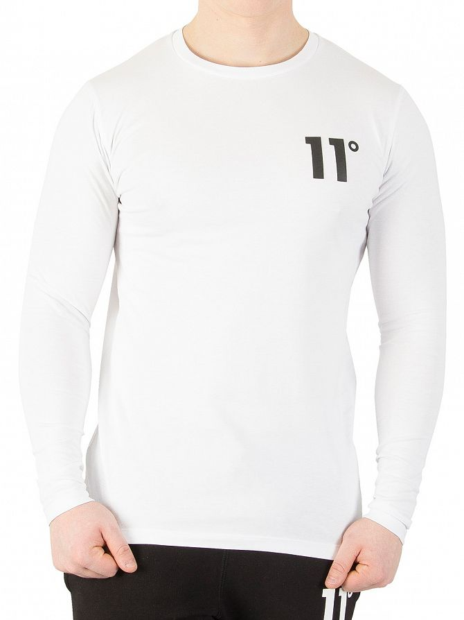 11 Degrees White Curved Hem Longsleeved Logo T-Shirt