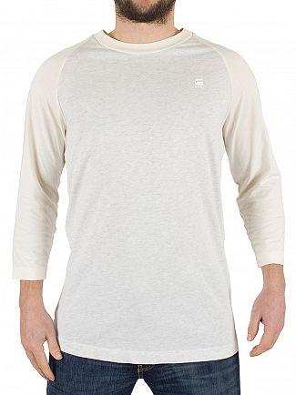 G-Star White Heather/Off White Malizo 3/4 Raglan Marled Logo T-Shirt