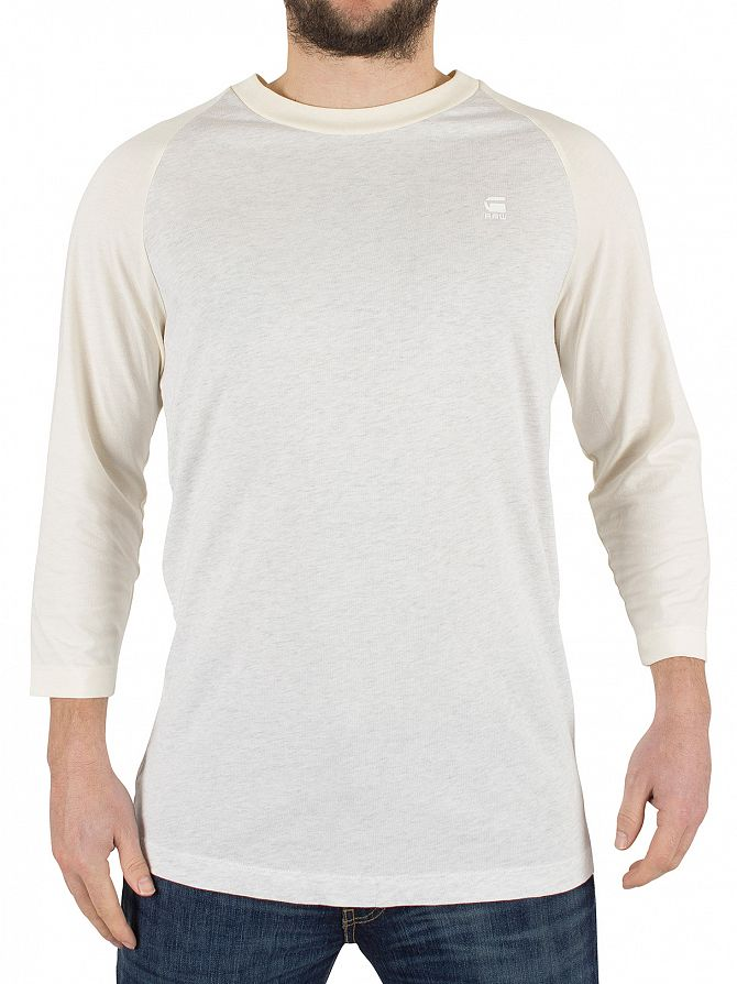 G-Star White Heather/Off White Malizo 3/4 Raglan Marled Logo T-Shirt
