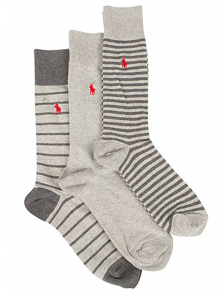 Polo Ralph Lauren Light Grey Marl 3 Pack Heel Toe Bar Stripe Logo Socks