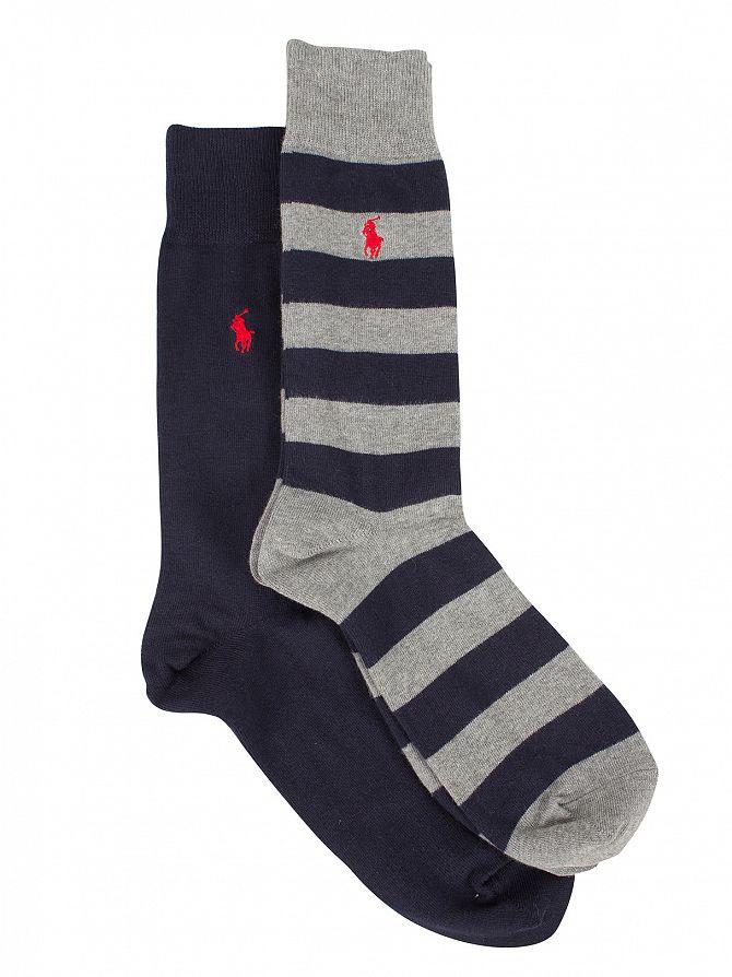 Polo Ralph Lauren Cruise Navy/Grey 2 Pack Rugby Stripe Logo Socks