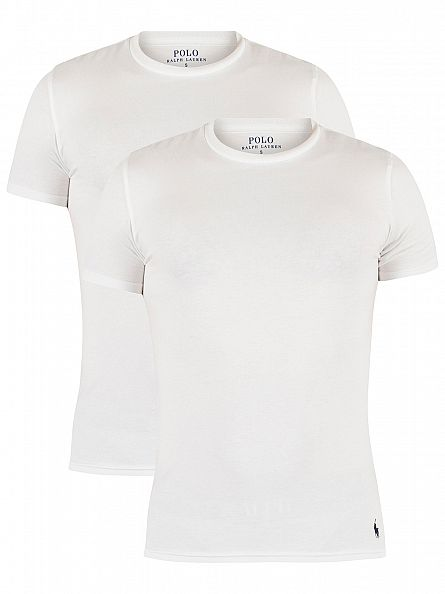 Polo Ralph Lauren White/White 2 Pack Stretch Cotton Logo T-Shirt