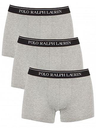 Polo Ralph Lauren Light Grey Heather 3 Pack Cotton Stretch Logo Trunks