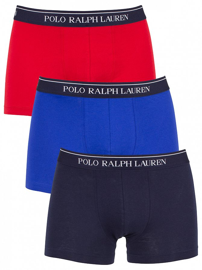Polo Ralph Lauren Red/Navy/Logan Sapphire 3 Pack Cotton Stretch Logo Trunks