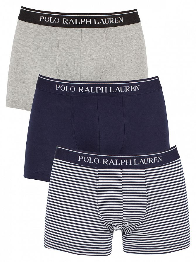 Polo Ralph Lauren Light Grey Heather/Navy/White Stripe 3 Pack Cotton Stretch Logo Trunks