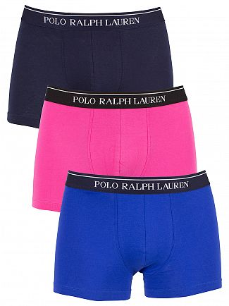 Polo Ralph Lauren /NavyLogan Sapphire/Pink 3 Pack Cotton Stretch Logo Trunks