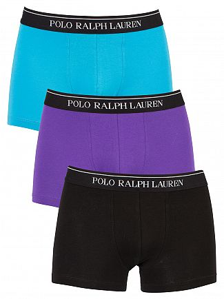 Polo Ralph Lauren Purple/Black/Cover Blue 3 Pack Cotton Stretch Logo Trunks