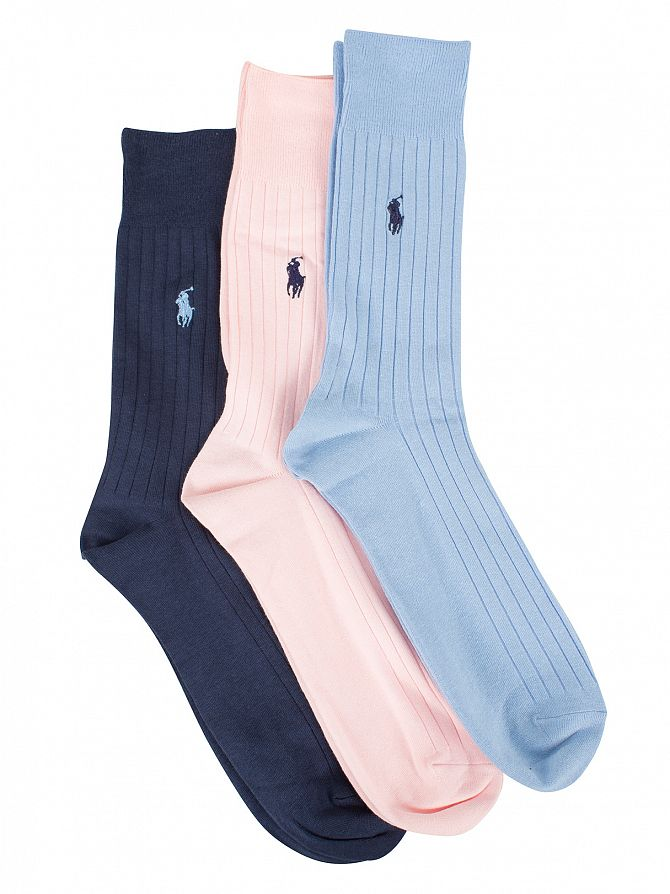 Polo Ralph Lauren Blue/Sky/Baby Pink 3 Pack Egyptian Cotton Ribbed Logo Socks