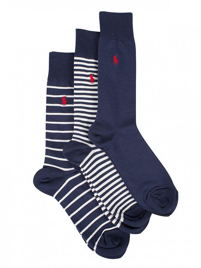 Polo Ralph Lauren Cruise Navy/White 3 Pack Heel Toe Bar Stripe Socks