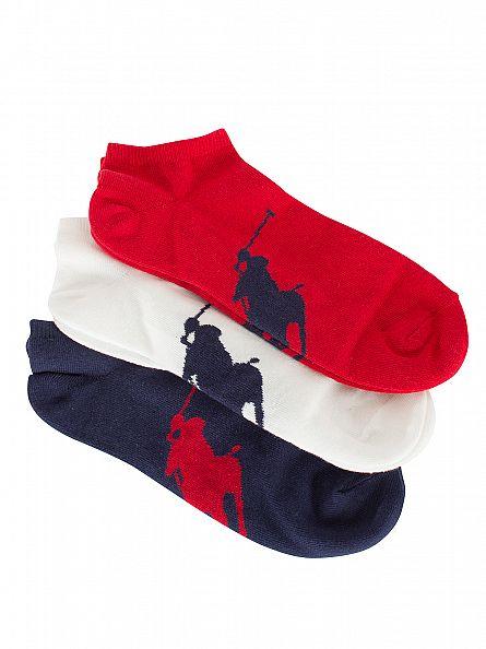Polo Ralph Lauren Navy/White/Red 3 Pack Logo Ankle Socks