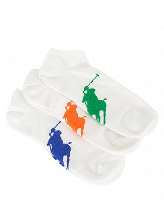 Polo Ralph Lauren White/Multi 3 Pack Logo Ankle Socks