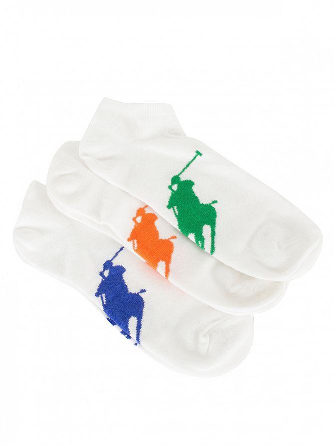 Polo Ralph Lauren White/Multi 3 Pack Logo Ankle Socks
