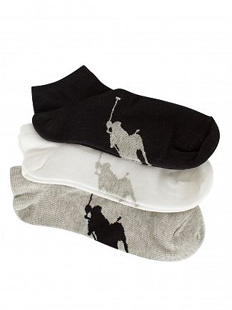 Polo Ralph Lauren Black/White/Grey 3 Pack Logo Ankle Socks