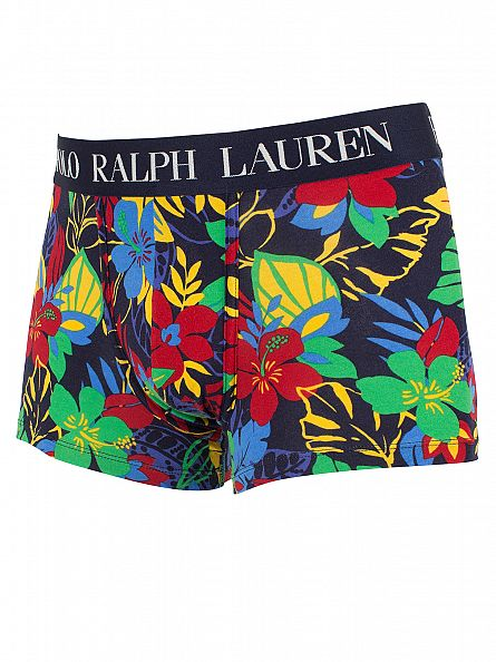 Polo Ralph Lauren Cruise Navy Classic Stretch Cotton Hibiscus Logo Trunks