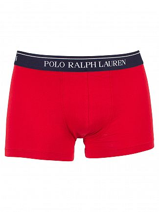 Polo Ralph Lauren Navy/Red/Navy Red Stripe 3 Pack Cotton Stretch Logo Trunks