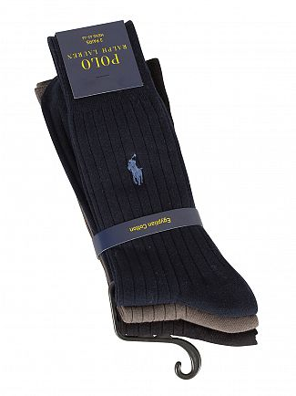 Polo Ralph Lauren Cruise Navy/Grey/Black 3 Pack Egyptian Cotton Ribbed Logo Socks