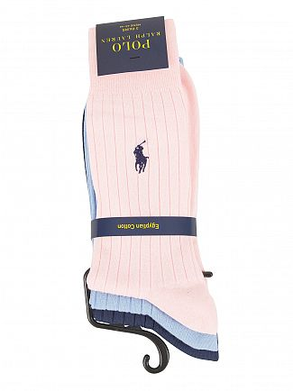 Polo Ralph Lauren Blue/Sky/Baby Pink 3 Pack Egyptian Cotton Ribbed Logo Socks