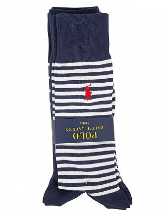 Polo Ralph Lauren Cruise Navy/White 3 Pack Heel Toe Bar Stripe Socks