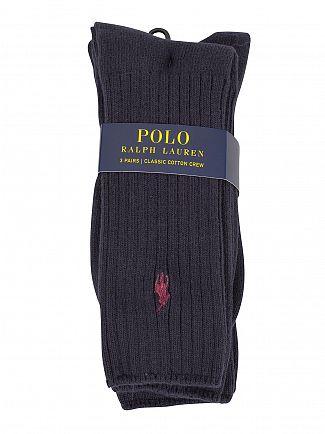 Polo Ralph Lauren Navy 3 Pack Ribbed Logo Socks