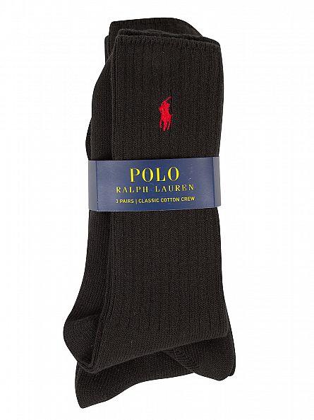 Polo Ralph Lauren Black 3 Pack Ribbed Logo Socks