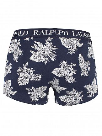 Polo Ralph Lauren Cruise Navy Classic Stretch Cotton Flower Logo Trunks