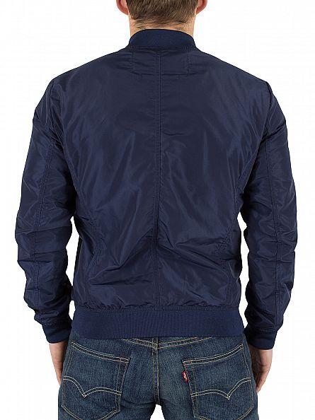 Replay Navy Logo Bomber Jacket