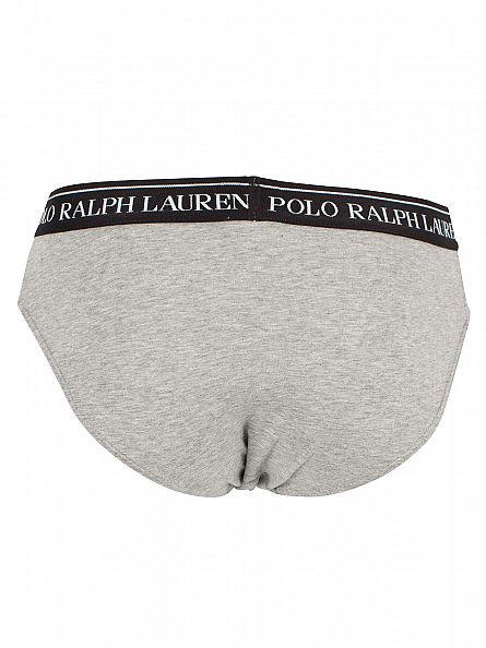 Polo Ralph Lauren White/Heather/Black 3 Pack Low Rise Stretch Cotton Logo Briefs