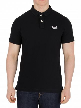 Superdry Black Classic Pique Logo Polo Shirt