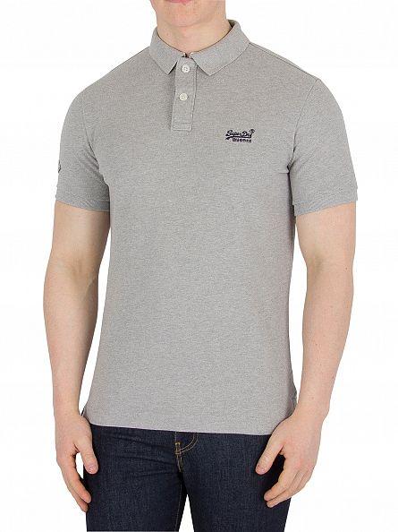 Superdry Grey Marl Classic Pique Logo Polo Shirt