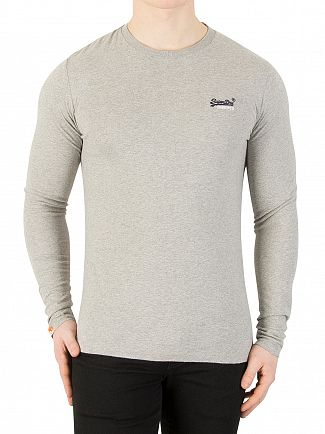 Superdry Grey Marl Longsleeved Orange Label Vintage Logo T-Shirt