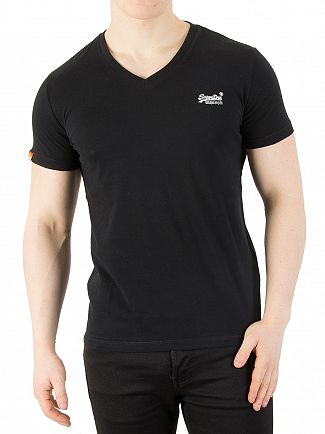 Superdry Black Orange Label Vintage V-Neck Logo T-Shirt