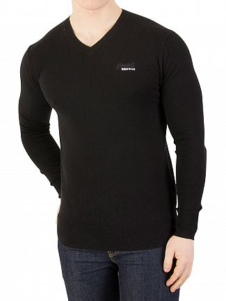 Superdry Black Orange Label V-Neck Knit