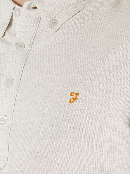 Farah Vintage Chalk Marl Merriweather Longsleeved Marled Logo Polo Shirt